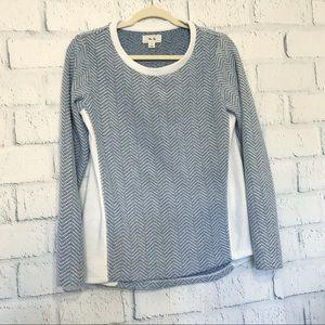 Per Se Womens Size Small Sweater Blue Chevron